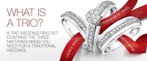 Diamond Trio Ring Set,Trio Wedding Rings