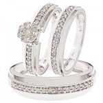 Diamond Cluster Wedding Rings Sets