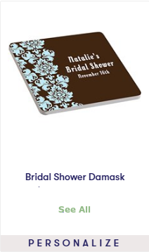 bridal shower damask coasters