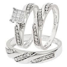 Diamond Trio Wedding Ring Set White Gold