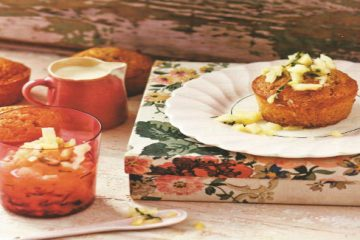 Coconut cakes with pineapple and mint syrup